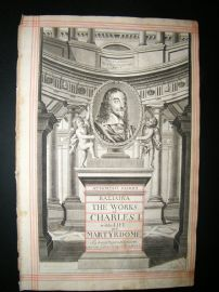A. Hertochs 1662 Folio Engraved Title Page. Works of Charles I. Cherubs.